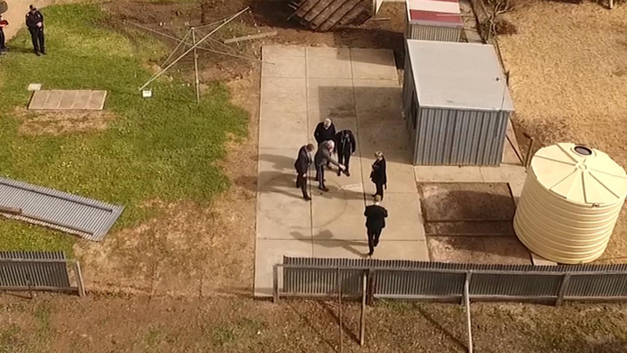 Following the confession, Adams led police to the spot in the backyard where he buried his wife's body. Picture: Nine News