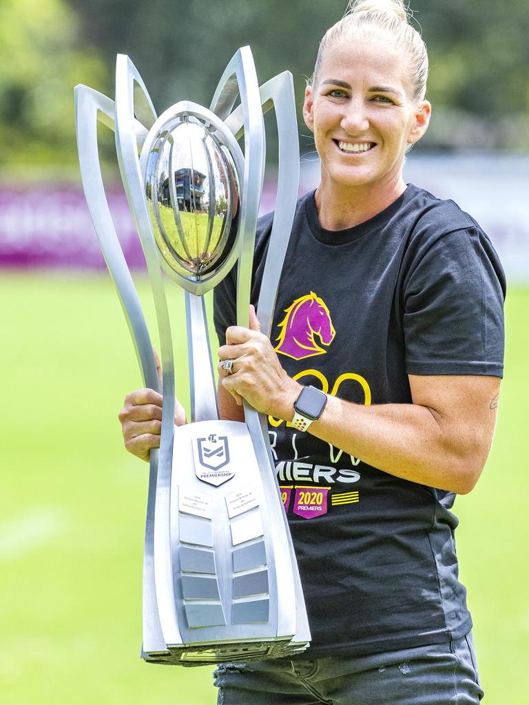 Broncos captain Ali Brigginshaw with the 2020 NRLW Premiership Trophy. Picture: Richard Walker