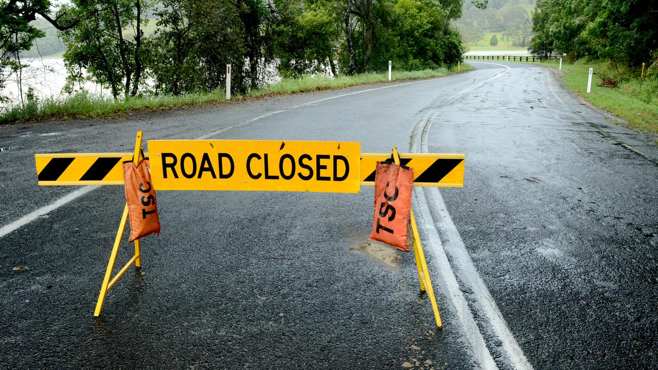 Dulguigan Rd in North Tumbulgum was closed due to flooding on Monday December 14, 2020. Picture: Liana Boss