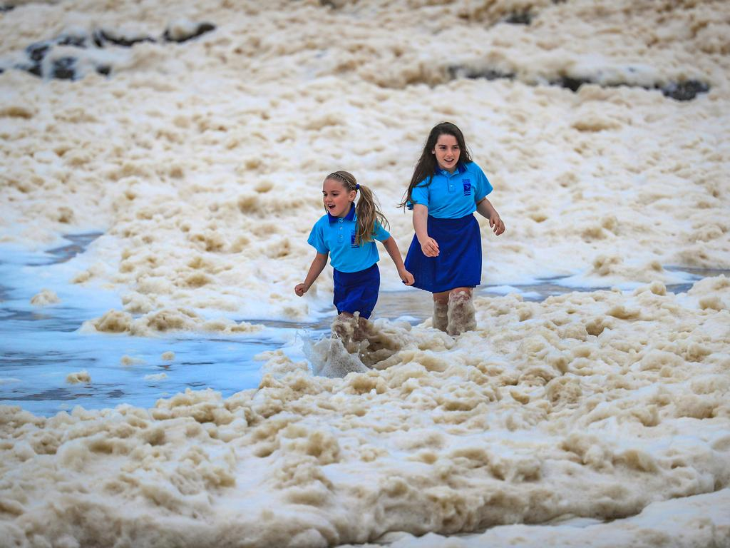Entire beaches were covered in foam as a result of the wild weather system on Monday. Picture: Nigel Hallett