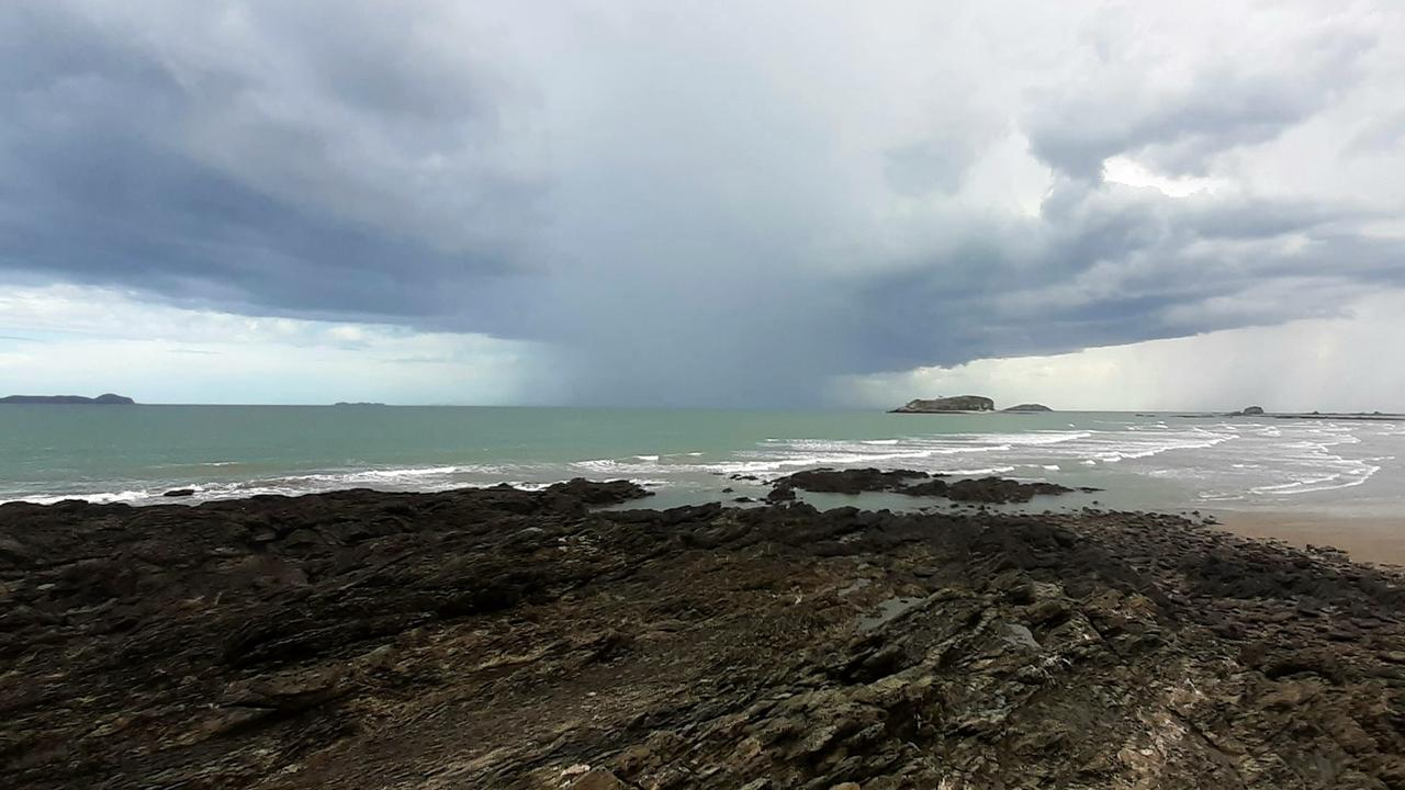 Ash Hart sent in this photo he captured of a rain bomb off Zilzie Beach. Ash was the winner of this month's cover photo competition. Picture: Ash Hart