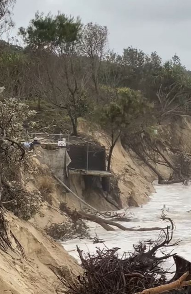A platform collapses on Byron Bay's Main Beach during king tides.