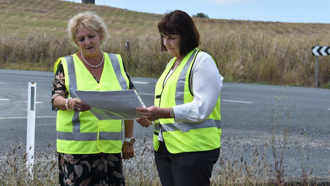 Capricornia MP Michelle Landry and Mackay MP Julieanne Gilbert look at plans for the Walkerston Bypass. Picture: Melanie Whiting