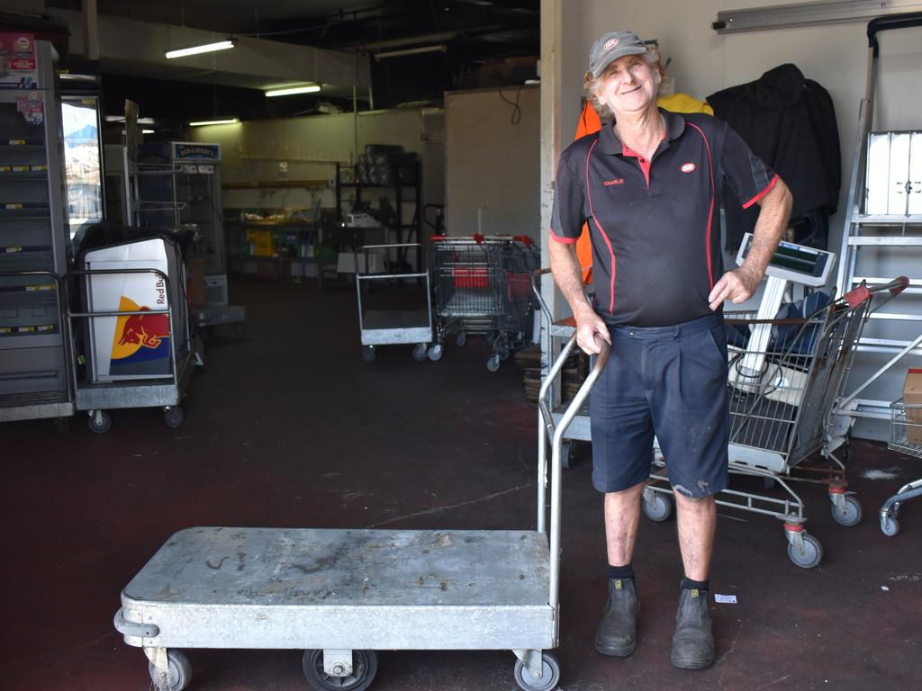 Charlie Dunnett on his last ever shift at the IGA store on Shakespeare St, having worked at the supermarket for 37 years. Picture: Heidi Petith