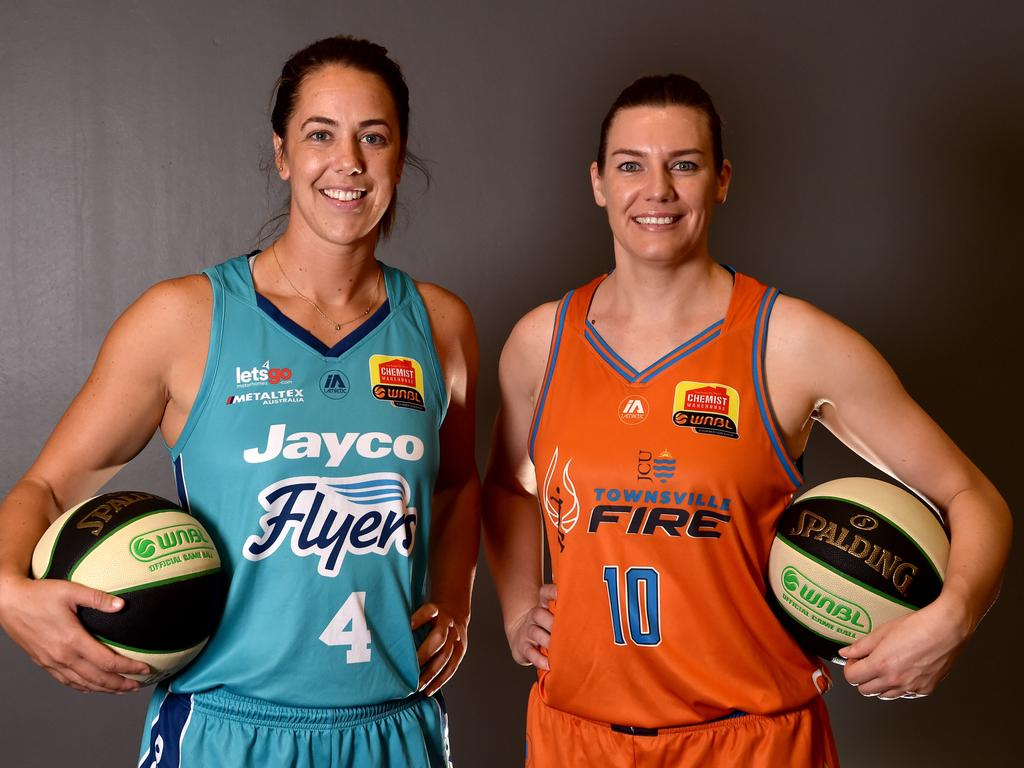WNBL captains at Townsville Stadium. Southside Flyers' Jenna O'Hea and Townsville Fire's Mia Murray. Picture: Evan Morgan