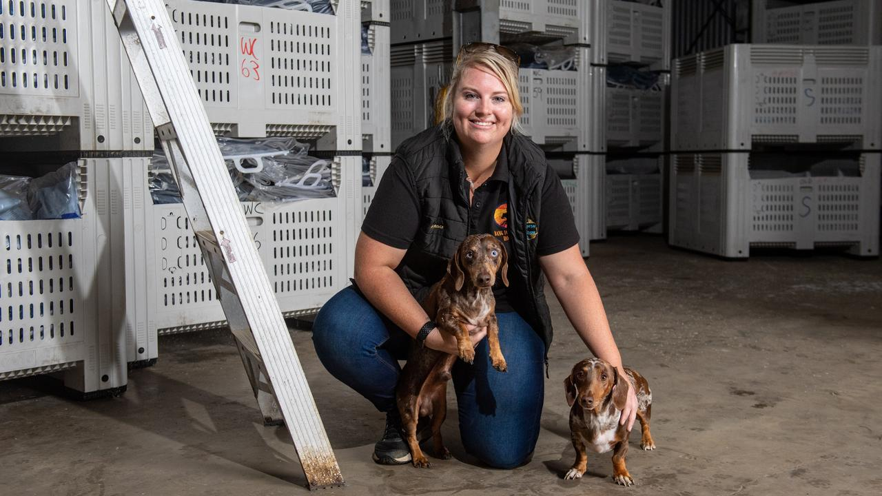 Bang For Your Buck Horsegear owner Lenna Gaske, with her dogs. Photo: Ali Kuchel