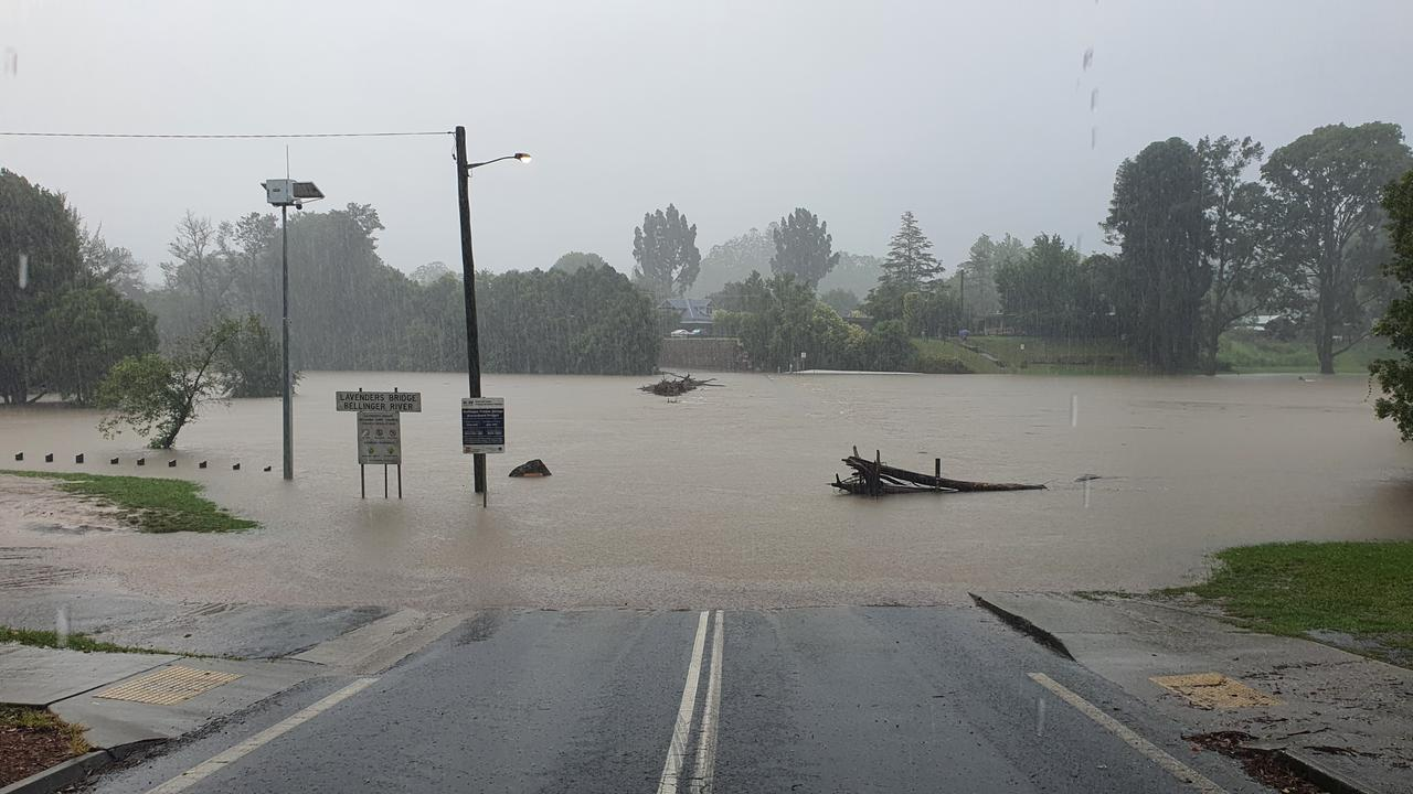 Lavenders Bridge at Bellingen under water on Tuesday morning. Photo: Frank Redward
