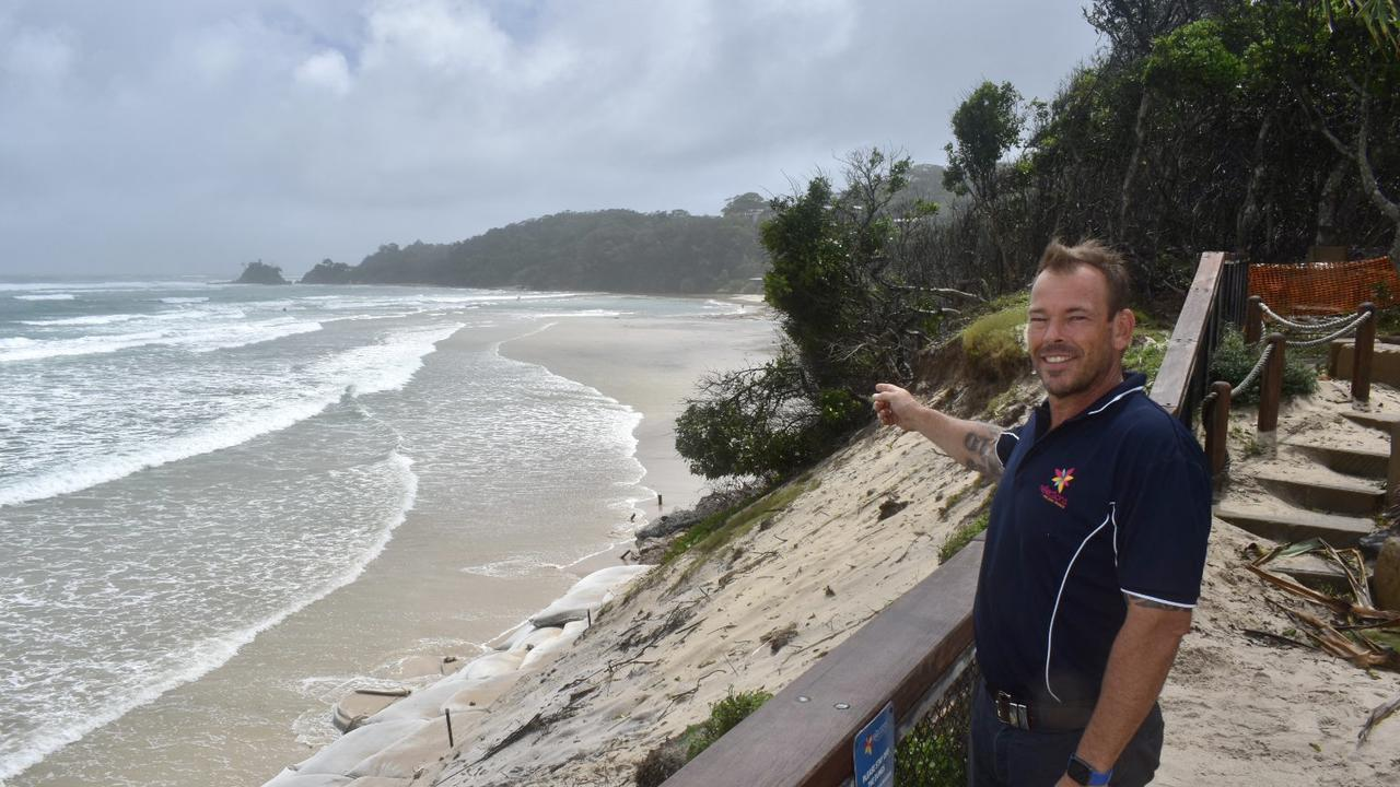 David Faiers, park manager at Reflections Clarkes Beach happy to see the sand returning to the area.