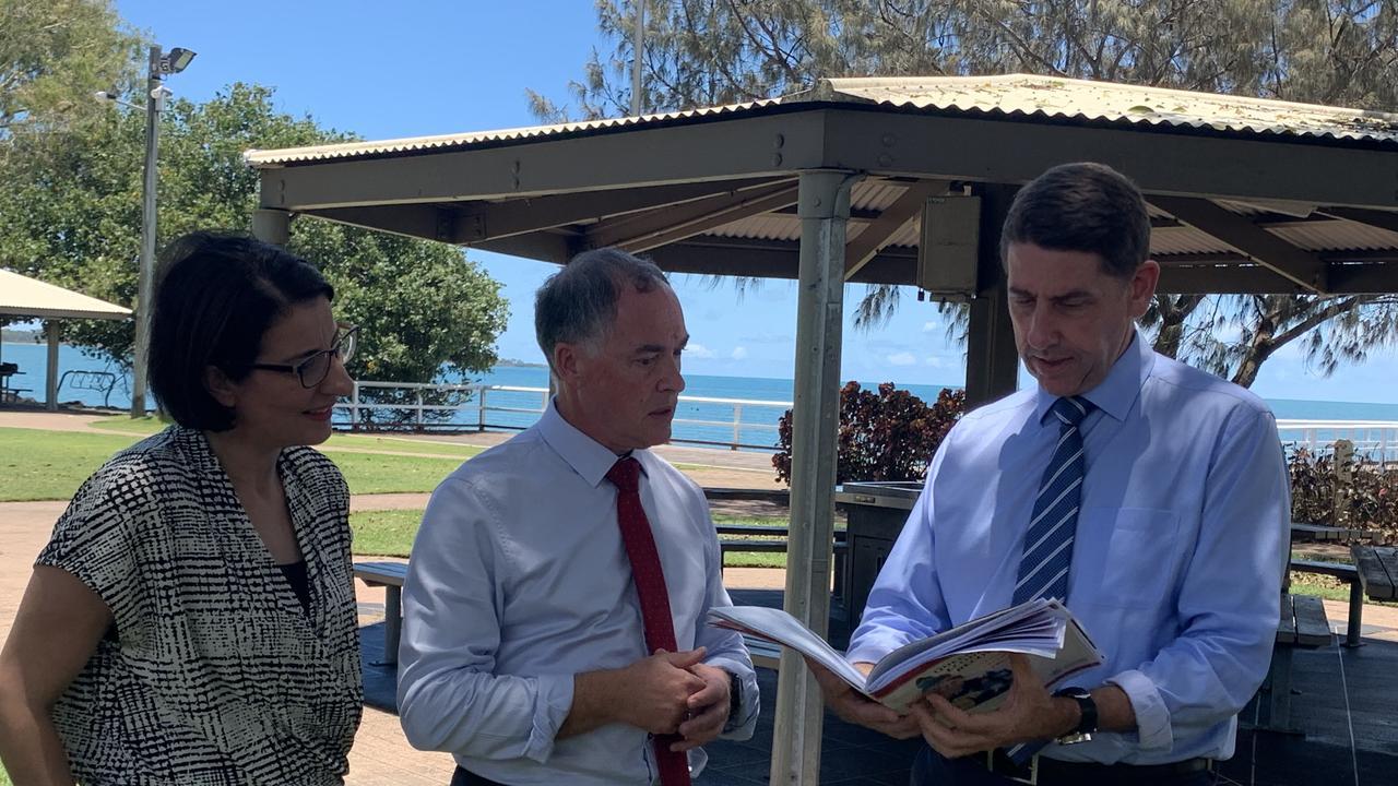 Member for Hervey Bay Adrian Tantari with Queensland Treasurer Cameron Dick in Hervey Bay.