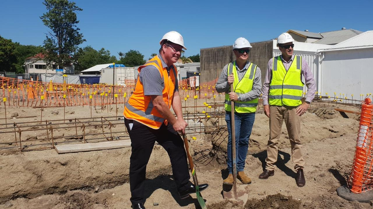 SOD TURN: Rockhampton MP Barry O'Rourke, Paynters Project Manager Craig Hornagold and Paynters CQ manager Wayne Lauga turn the sod on a $3.3 million social housing project at 102 Campbell Street in Rockhampton's inner-city area.