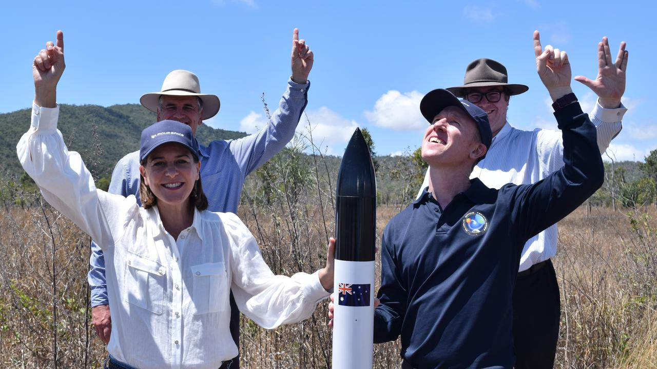 (From left) LNP Leader Deb Frecklington, Burdekin MP Dale Last, Dawson MP George Christensen and Gilmour Space Technologies co-founder and CEO Adam Gilmour announce a $15 million election commitment to build a rocket launch site near Abbot Point.