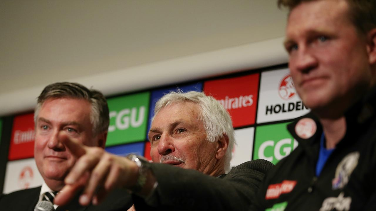 Eddie McGuire oversaw the coaching handover between Nathan Buckley and Mick Malthouse.