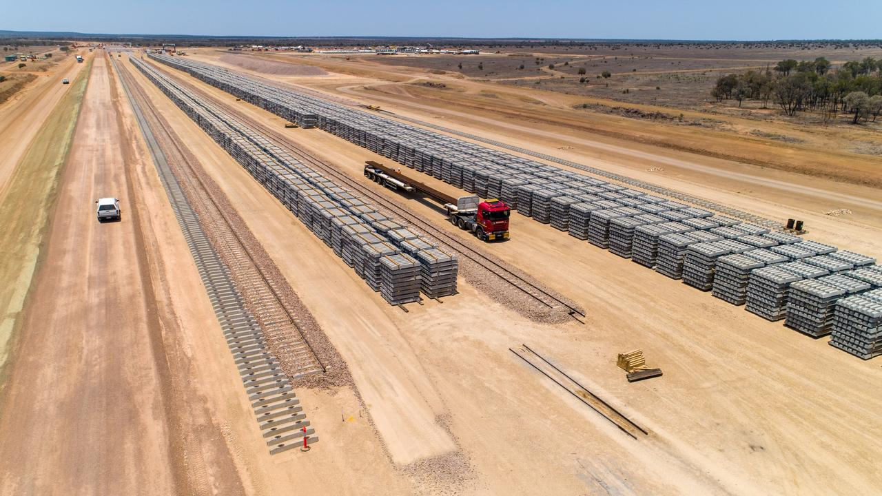 Aerial view from the opposite direction, with formation and gantry rail, and sleeper stockpiles. Picture: Cameron Laird