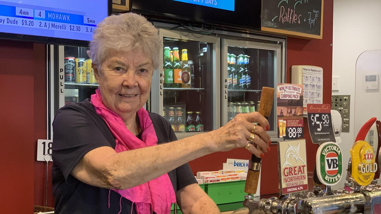 At 75, Nambour pub owner Laurie Williams still knows how to pour a mean beer.
