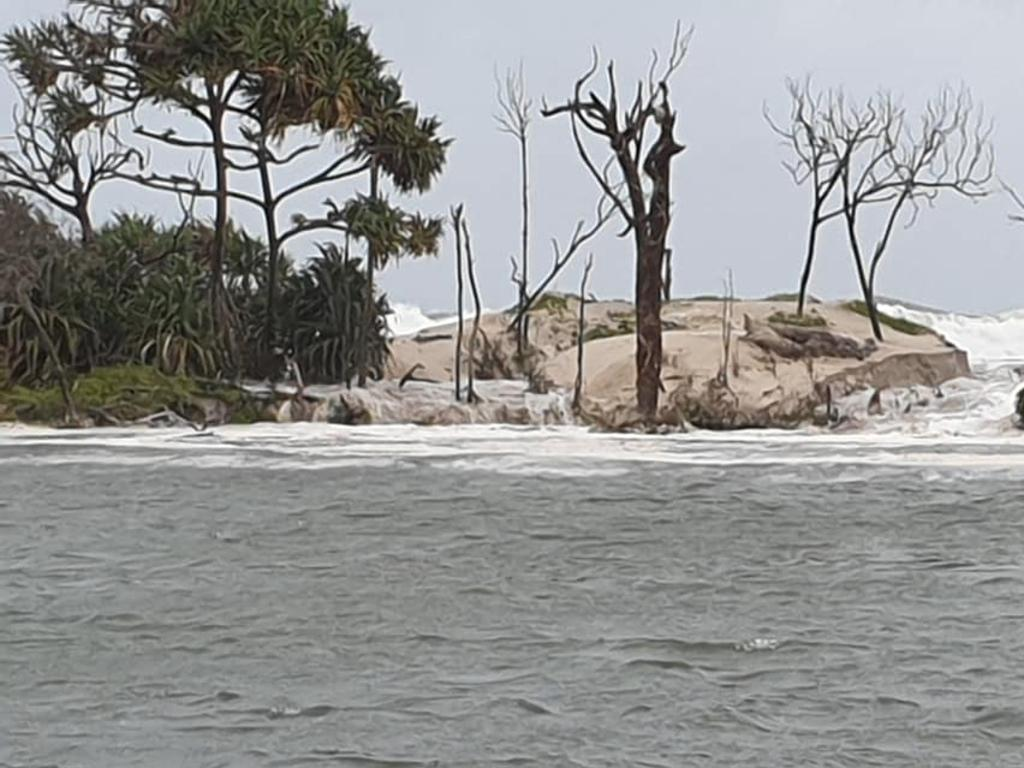 Coastal erosion on Bribie Island is a normal process, however this is the first time waves have broken through the northern dunes.