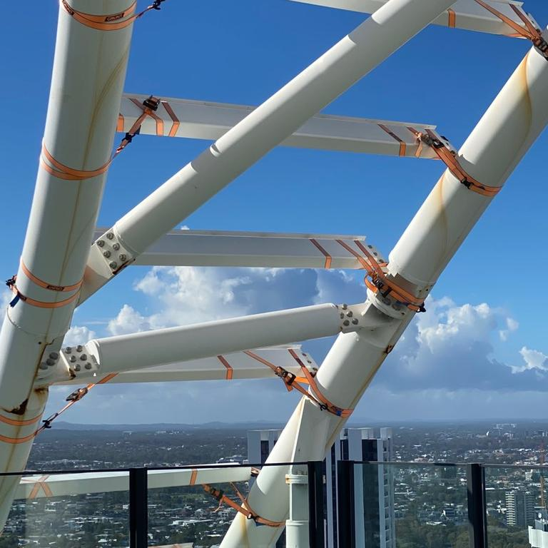 Ratchet straps covering a structure on top of The Oracle Hinterland Tower at Broadbeach. Picture: Supplied