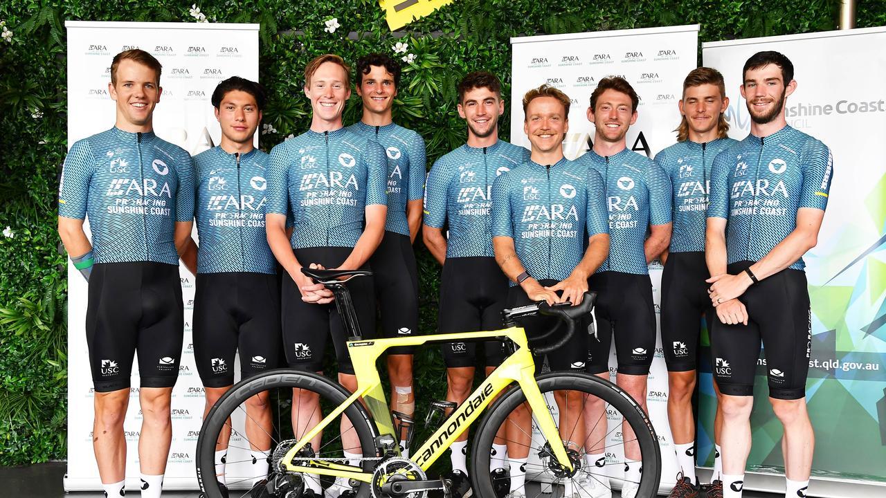 ARA Pro Racing Sunshine Coast team launch for 2021. (LtoR) Ryan Thomas, Craig Wiggins, Zack Gilmore, Danielle Di Donenico, Matthew Rice, Alistair Donohoe, Michael Rice, Alex Bogna and Angus Lyons. Picture: Patrick Woods.