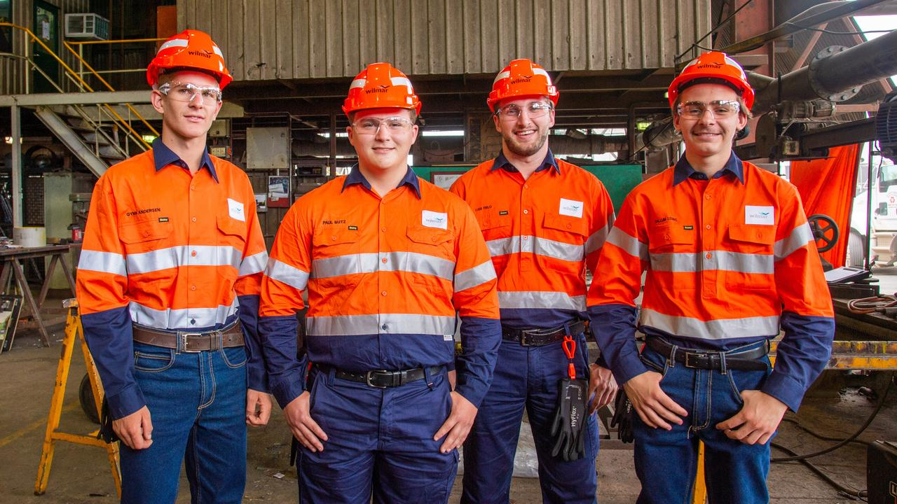 (From left) Plane Creek Mill first-year apprentices Qynn Andersen (boilermaking) and Paul Butz (fitting and turning) and Proserpine Mill first-year apprentices Liam Pirlo (fitting and turning) and Callum Lemke (boilermaking). Picture: Contributed