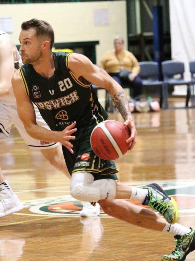 International basketballer Nathan Sobey playing for Ipswich Force in the 2020 Queensland State League competition.