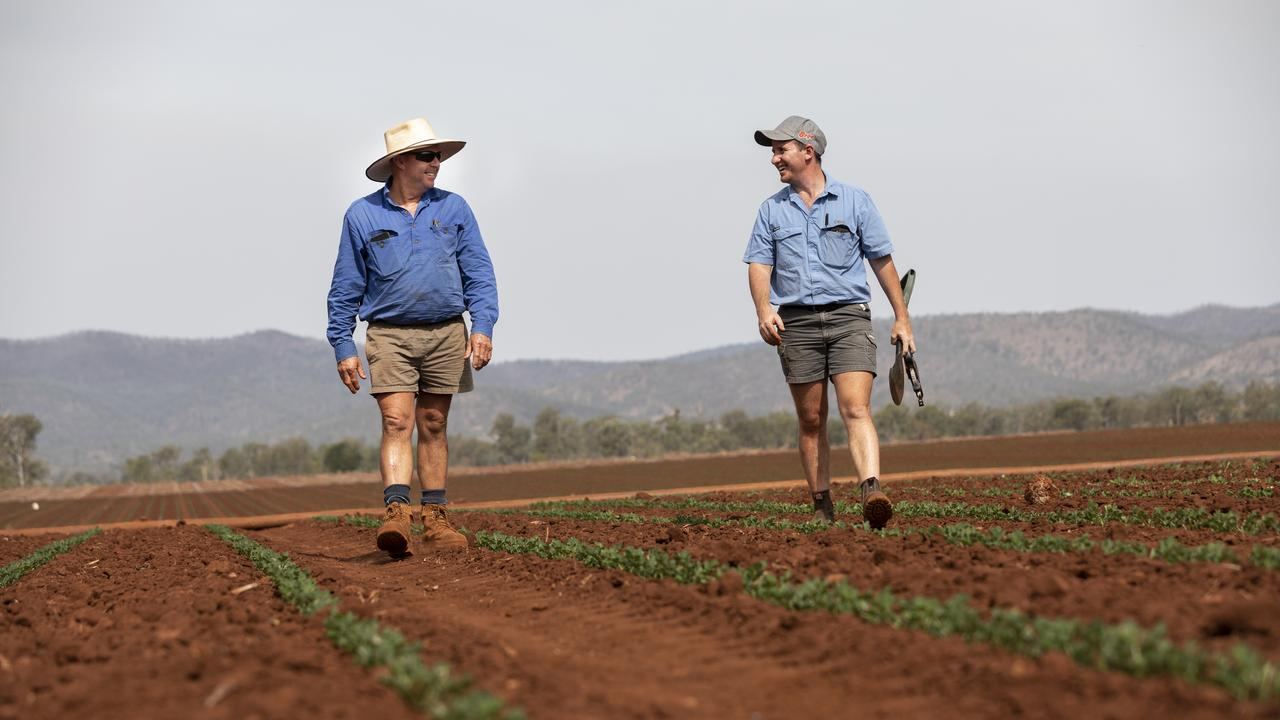 Burnett peanut grower Darrin Rackemann with Tjaart Myburgh, Bega Agronomist