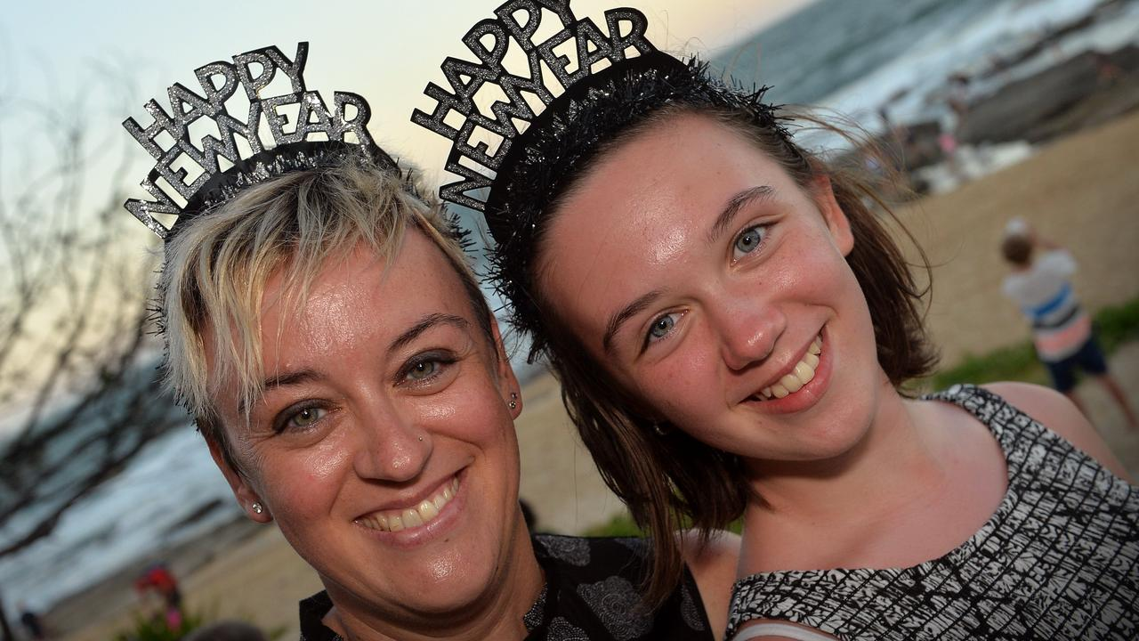 Laura and Emma Sicco celebrate New Year's Eve at Mooloolaba Beach. Picture: File.