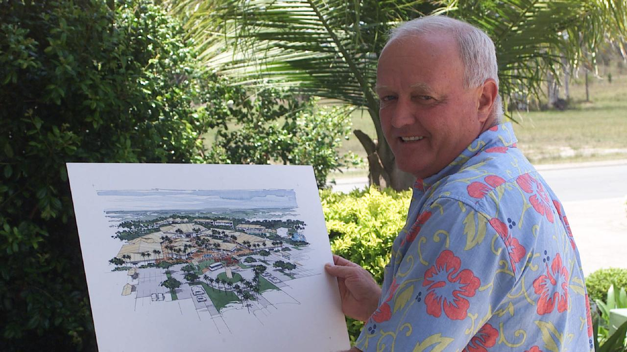 Mal Pratt back in 2001 with a drawing of his proposed Surfing World Sunshine Coast theme park at Mudjimba. Picture: Graeme Parkes