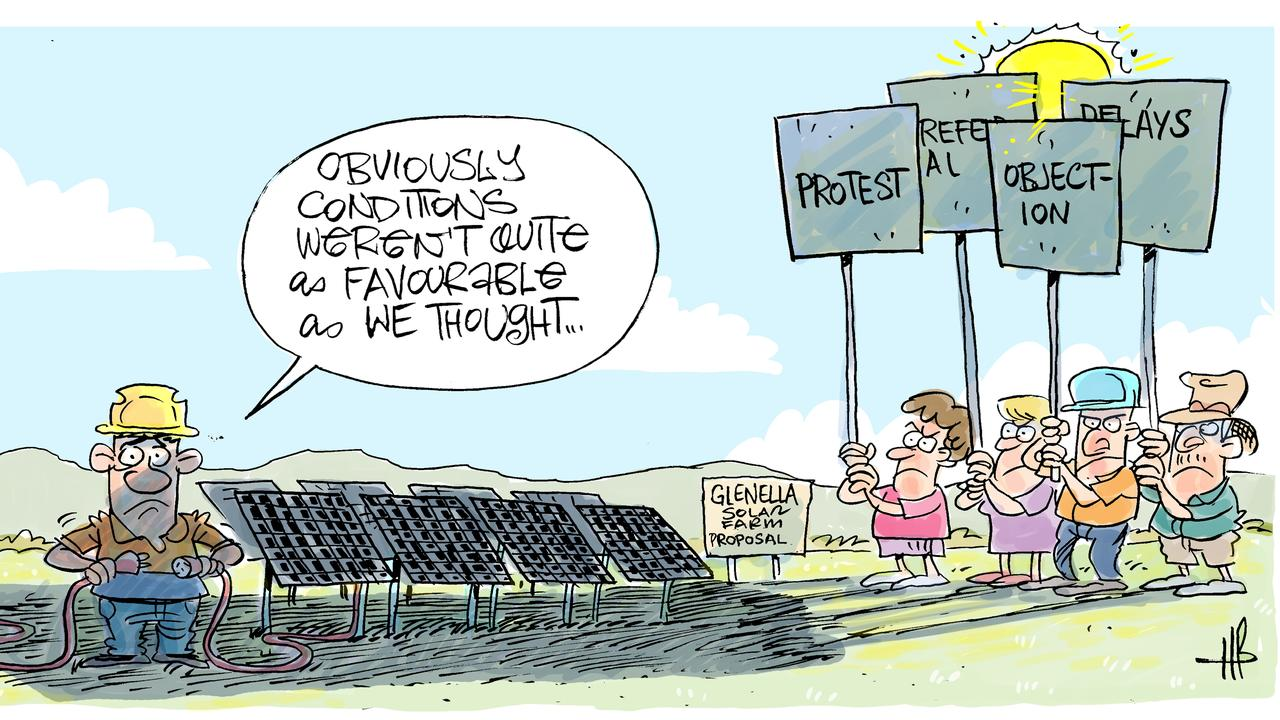 Cartoonist Harry Bruce's take on a $70 million Glenella solar energy project being pulled. Today's Harry Bruce cartoon has been brought to you by Dawson MP George Christensen. George is a proud supporter of free speech and the ability of our cartoonists to take the mickey out of the political class. Picture: Harry Bruce