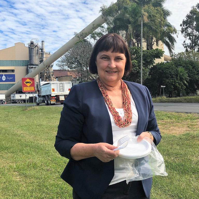 Mackay MP Julieanne Gilbert at Racecourse Mill speaking about the government's push to reduce plastic use. Picture: Supplied