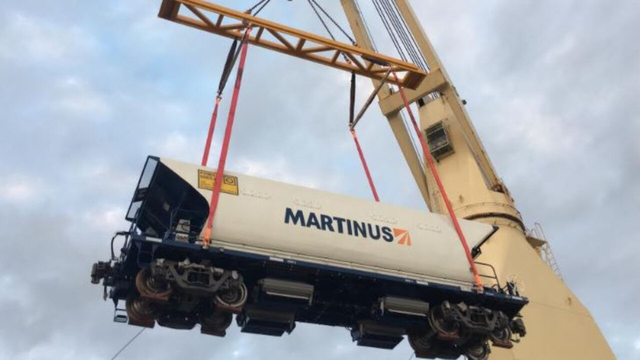 A crane lifting a ballast wagon. Picture: supplied