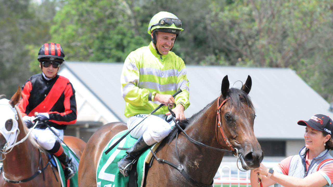 Ipswich race winner Keefy, ridden by an excited Ryan Maloney. Picture: Claire Power