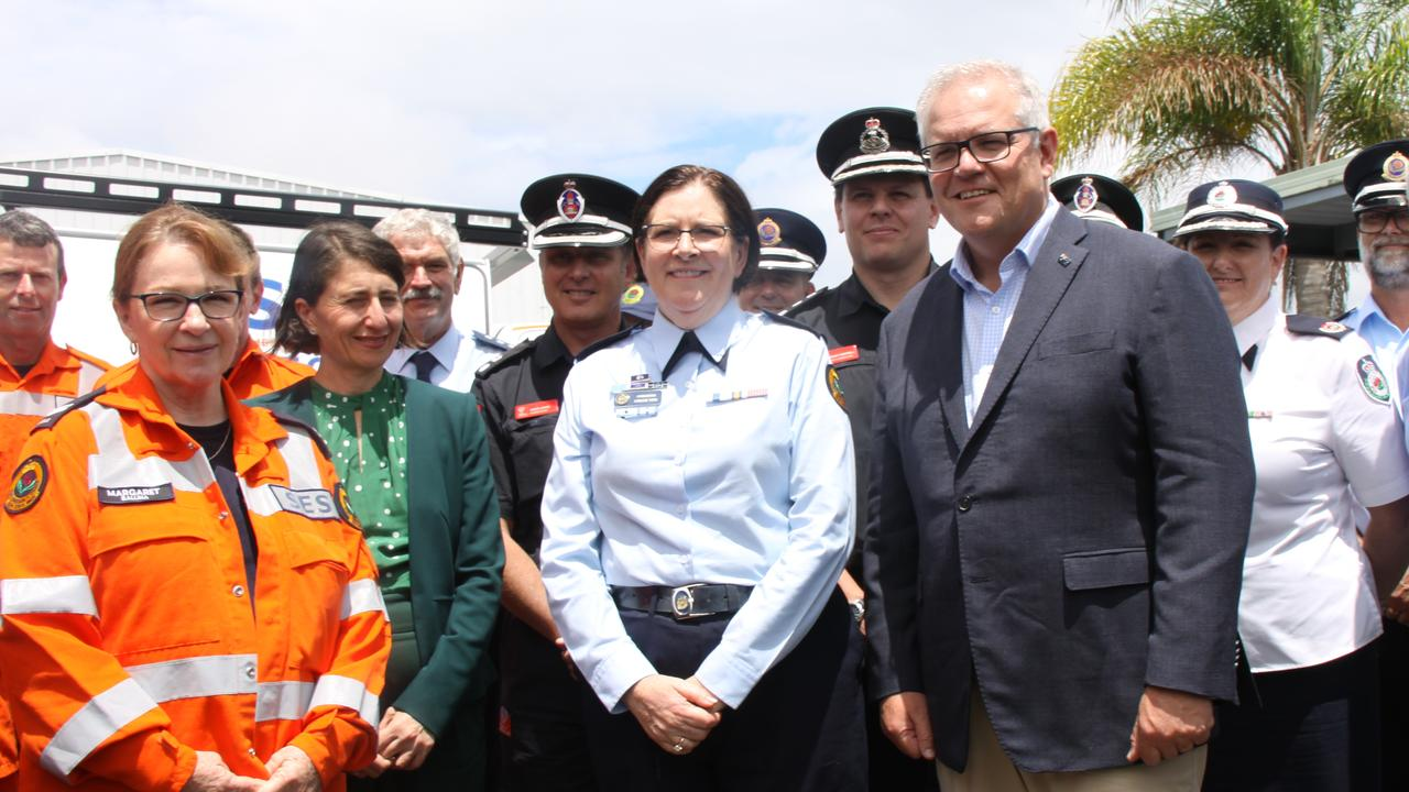 """JOIN THE SES: When Prime Minister Scott Morrison visited Lismore to meet the SES and other emergency services personnel, he said joiningtheir local emergency services organisation was part of """"the Australian community spirit."""" Her Mr Morrison stands with SES NSW Commissioner Carlene York, Premier Gladys Berejiklian and volunteer Margaret from SES Ballina. Photo: Alison Paterson"""