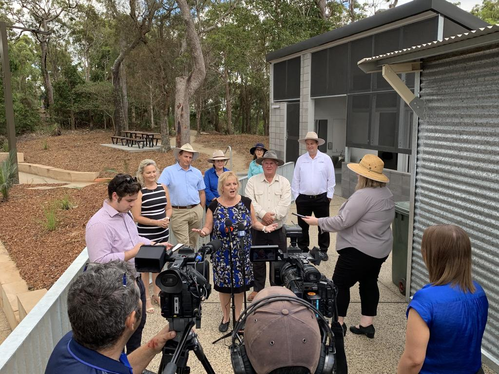 TOURISM POTENTIAL: Capricornia MP Michelle Landry and Rockhampton Regional Councillors stand next to the vacant coffee shop as they reveal new infrastructure for the summit of Mt Archer including a new amenity block, lighting and car park upgrade.