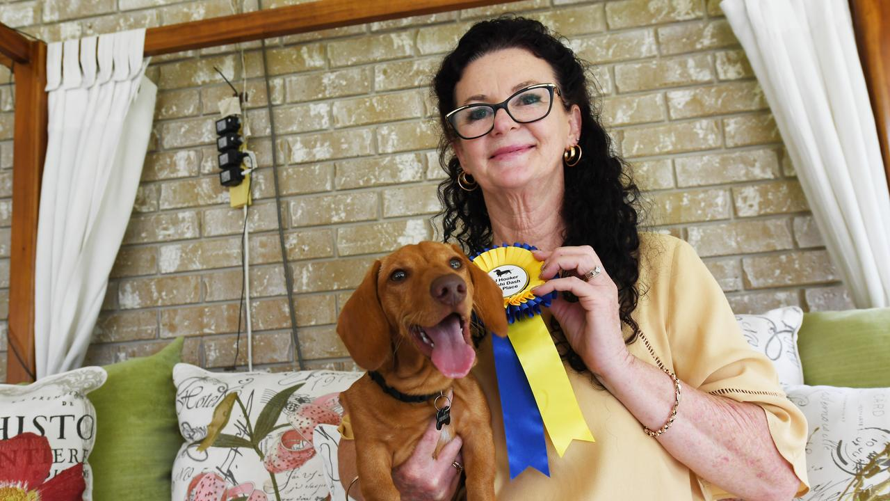 Debra Wilkinson with Harley, who won the inaugural Dashi Dash last year and will be back to defend his title on Friday.