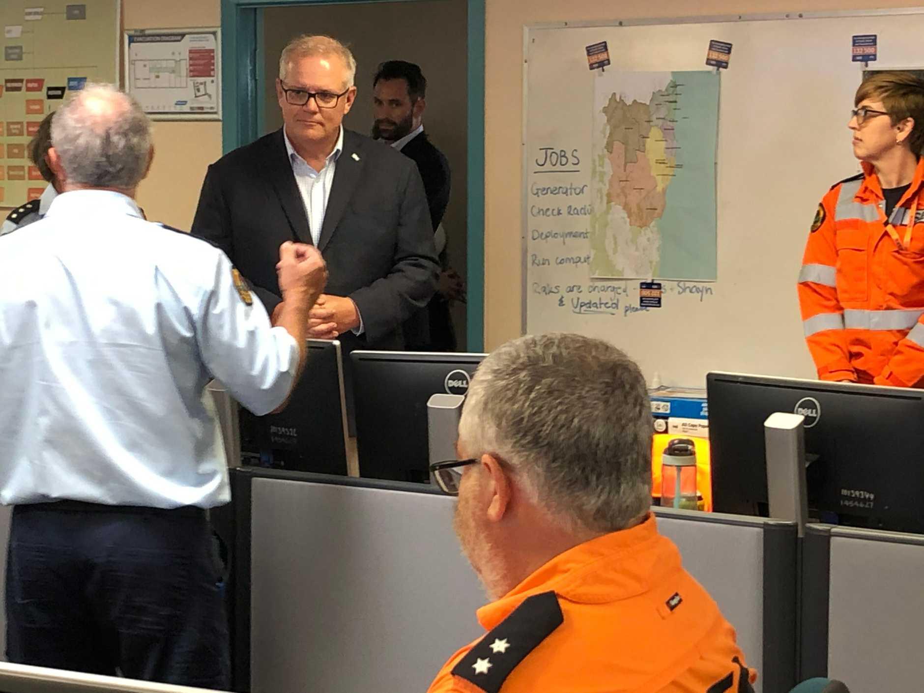 Prime Minister Scott Morrison visits SES control centre at Goonellabah after flash flooding swept through Lismore on Wednesday, December 16, 2020.