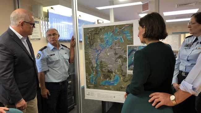 Prime Minister Scott Morrison and NSW Premier Gladys Berejiklian visit Goonellabah SES control centre.