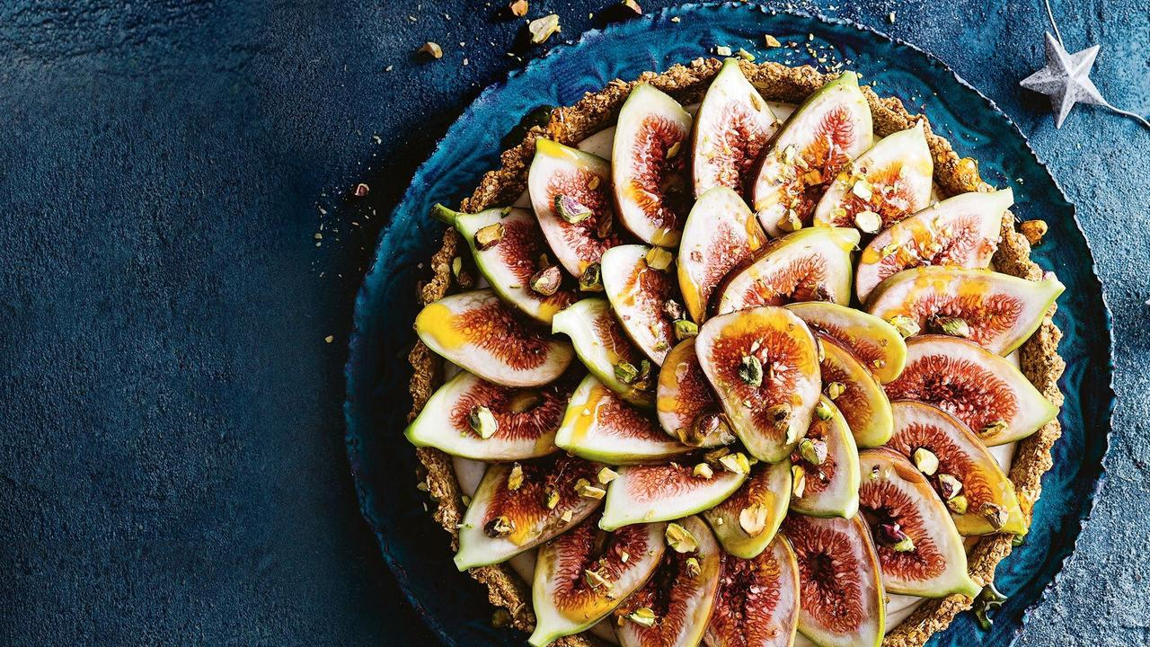 Taste's top plant-based recipes for vegans this Christmas includes this mouth-watering fig and custard tart. For more ideas for a fabulous vegan feast, head to taste.com.au