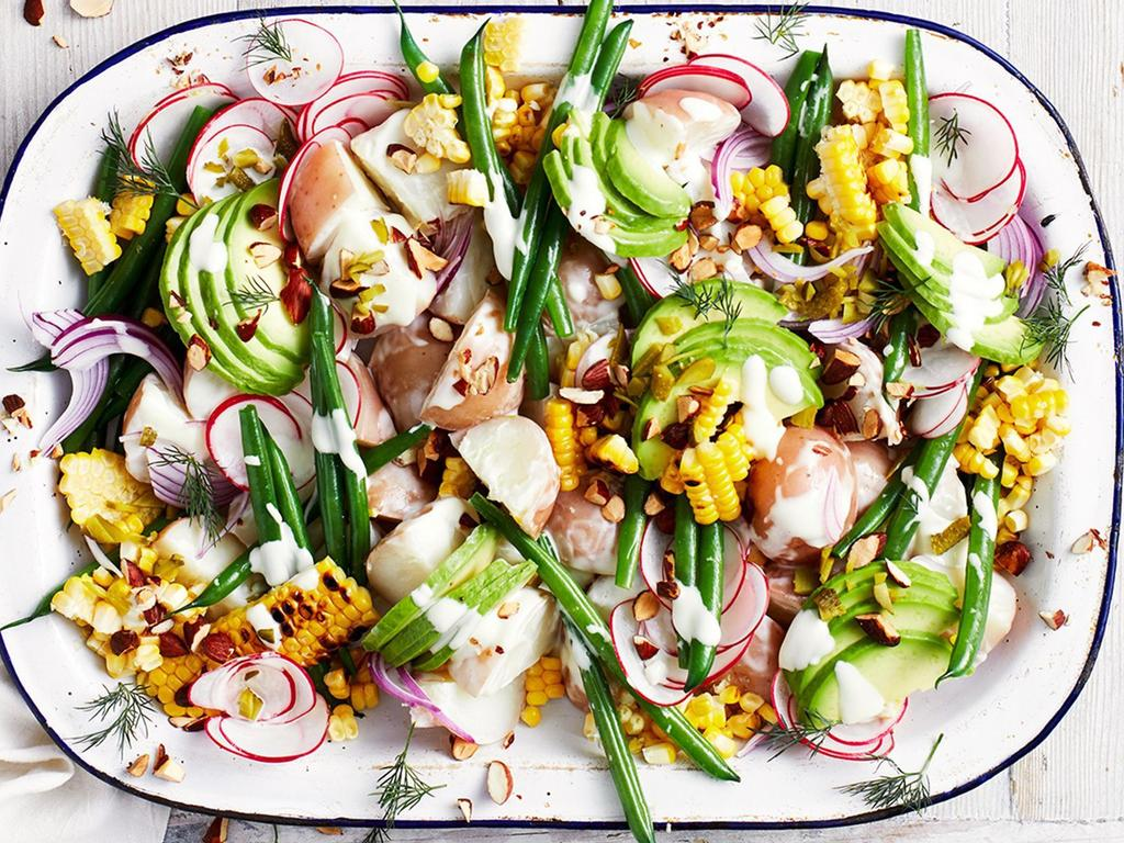 Taste's top plant-based recipes for vegans coming to the table this Christmas. Pictured is the fully loaded vegan potato salad – for more vegan recipes head to taste.com.au