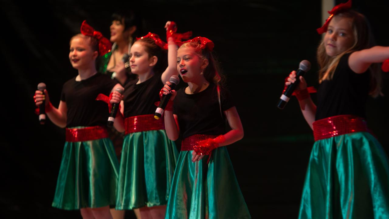A group of young Christmas carol singers performing at Carols by the Beach at the weekend. Picture: Contributed