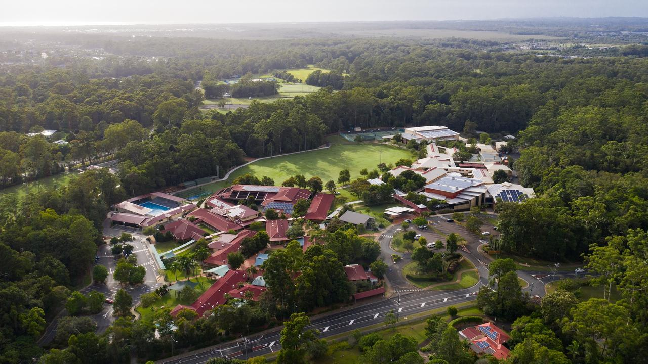 An aerial view of Matthew Flinders Anglican College in Buderim.