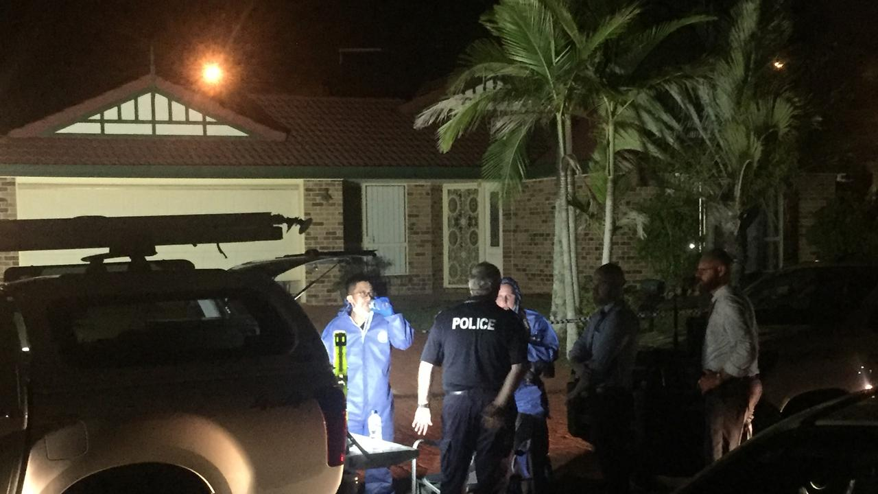 Police at a house at Parkinson in Brisbane's south where an elderly couple were found murdered. Picture: Cormac Pearson