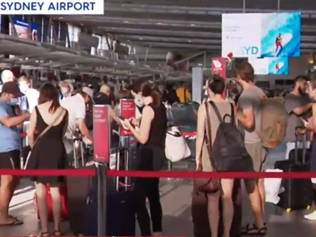 Sydney Airport is packed as people rush to leave the state. Picture: Today/Nine