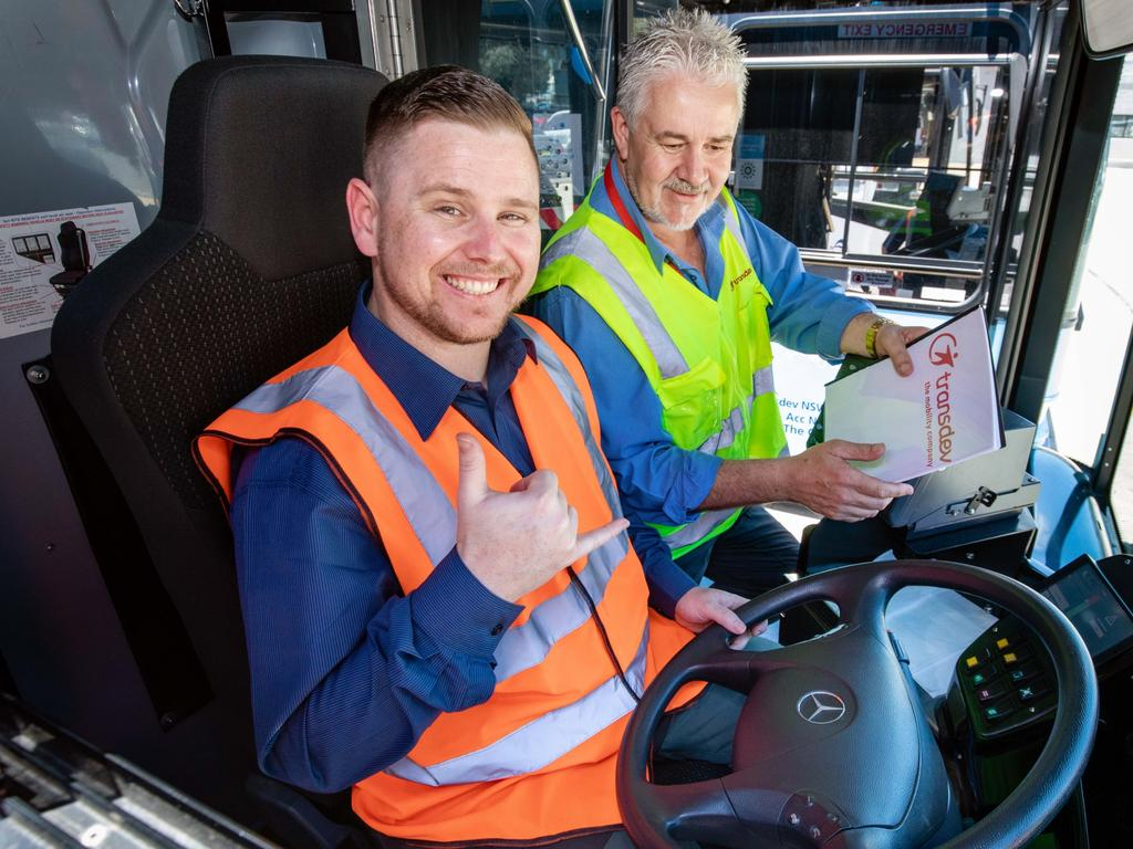 Trainee bus driver Warwick Chaseling match the switch out of hospitality. Picture: Supplied