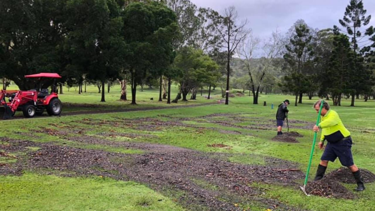 GROOMING THE GREENS: The Lismore Workers Gold Club thanked members and staff for their hard work in clearing flood debris from the greens on Thursday and invited anyone with a rake and gumboots down to the club on Friday to help out.