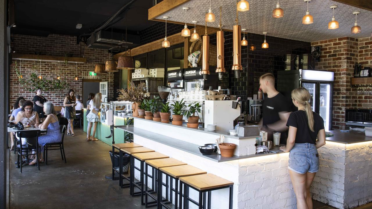 The interior dining space at Bam Bam Bakehouse. Picture: Mark Cranitch.