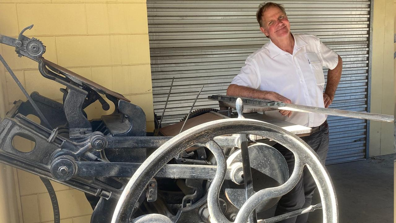 Stephen Darwen with the printing press that used to print the Collinsville Star. Photo: Samantha Sharp