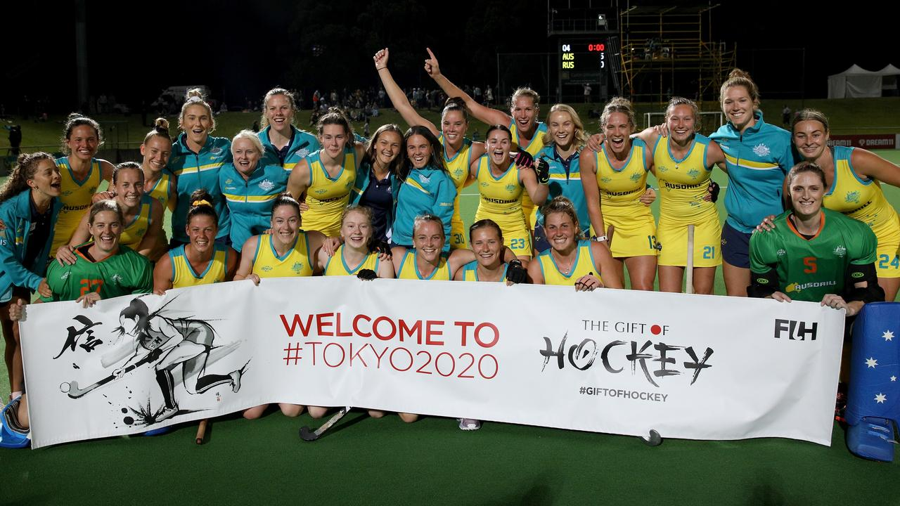 The Hockeyroos celebrate winning the Olympic qualifying Match 2 against Russia in October last year. Picture: AAP Image/Richard Wainwright