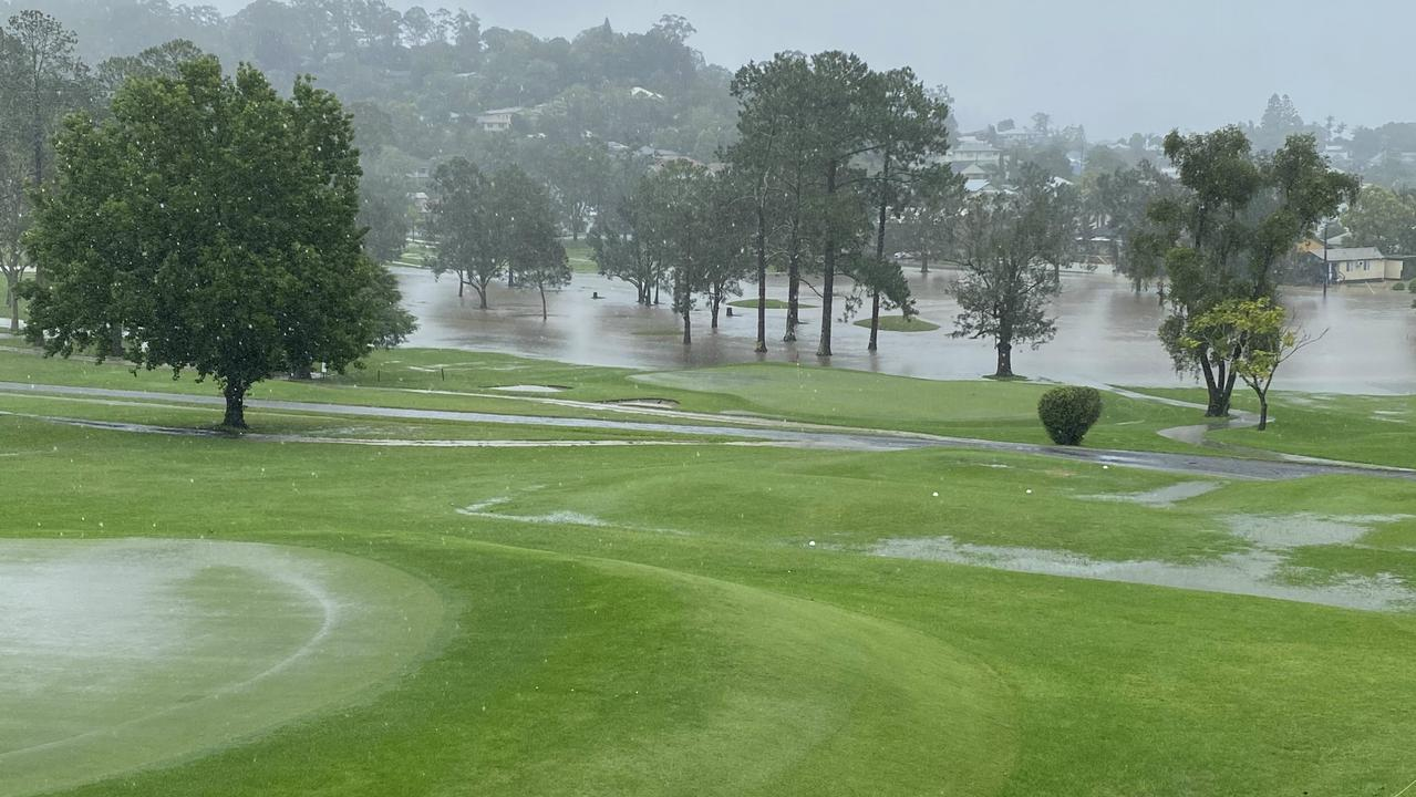 UNDER PAR: The greens at the Lismore Workers Golf Club were flooded after severe weather including heavy rain saturated the region.