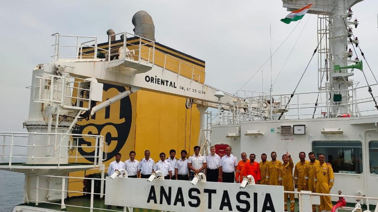 Crew members of the bulk carrier Anastasia have been stuck aboard their ship for several months as a trade dispute between Australia and China over coal exports intensifies. Picture: Twitter/@AnnaKrien