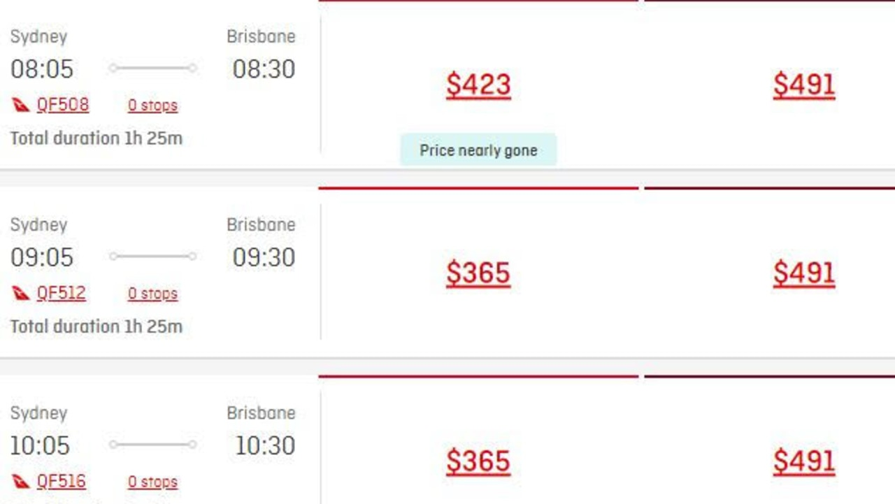 Qantas flights from Sydney to Brisbane have also appeared to increase.