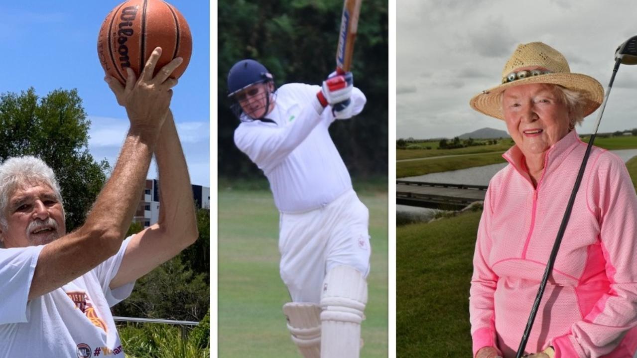 Despite their age, these Sunshine Coast sportspeople are still kicking goals, literally. Pictured Ron Burnett, Nev Kratzmann and Mary Haddon.